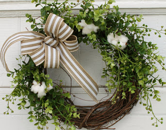 Cotton Boxwood Wreath