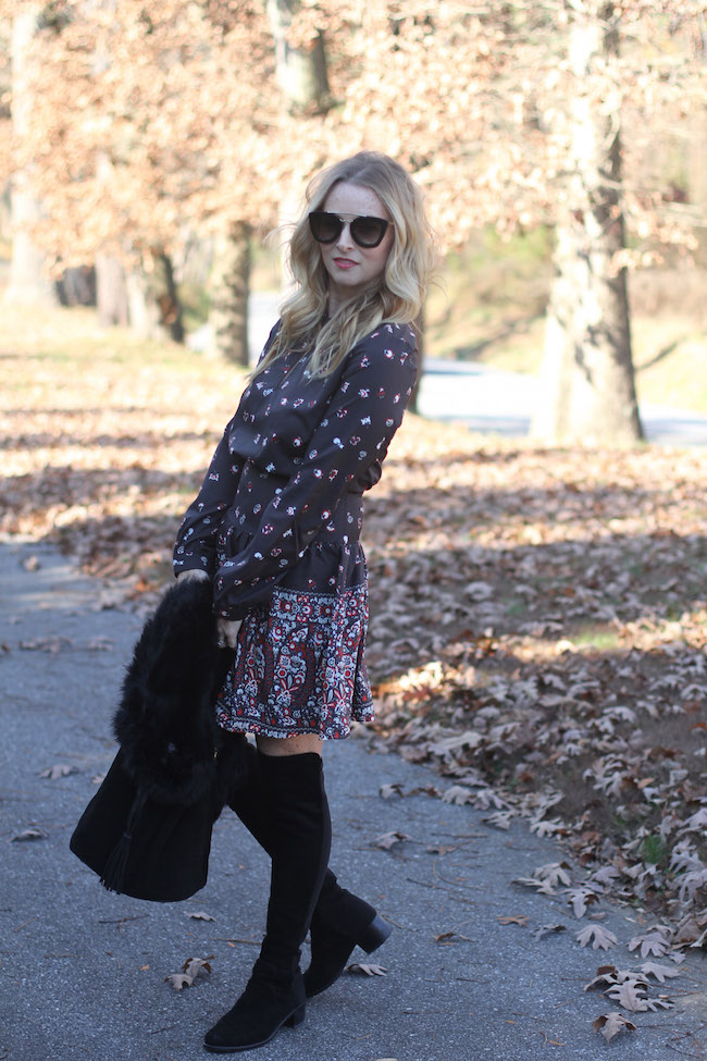 shein dress, black fur vest, black bucket bag, over the knee boots, prada sunglasses
