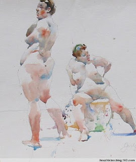 A watercolour life drawing sketch by Charles Reid