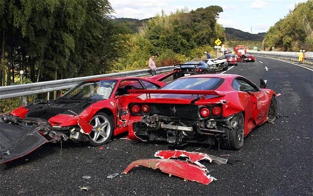 Car Crash, Cars, Ferrari, Japan, Lamborghini, Mercedes Benz, Most Expensive Accident, News, Road Accident, Sports Car, Supercars, Red Ferrari,