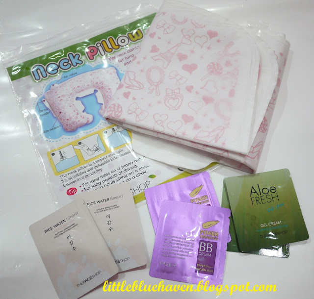 the face shop neck pillow, freebies, samples, bb cream, gel cream, cleanser