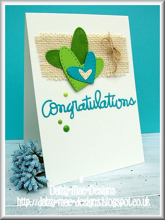 hearts, blue, green, congratulations, jute