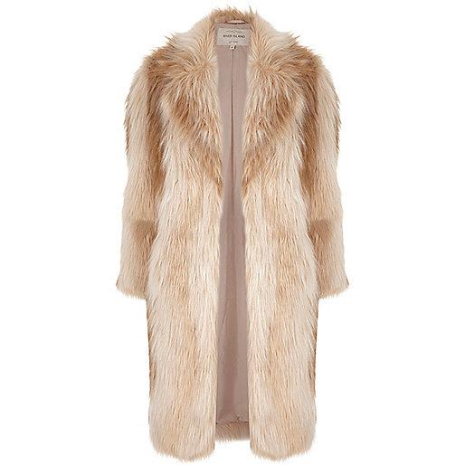 river island cream fur coat, cream long faux fur coat,