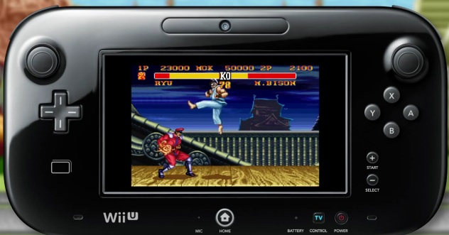 Image of Street Fighter 2: Turbo on Wii U GamePad. Ryu is fighting M. Bison in Japan stage
