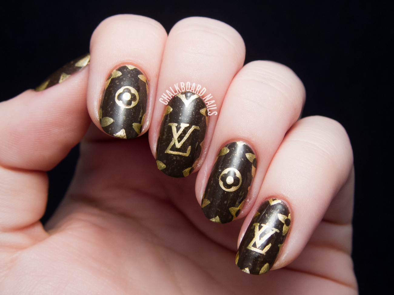 Louis Vuitton Pattern Freehand Nail Art by @chalkboardnails