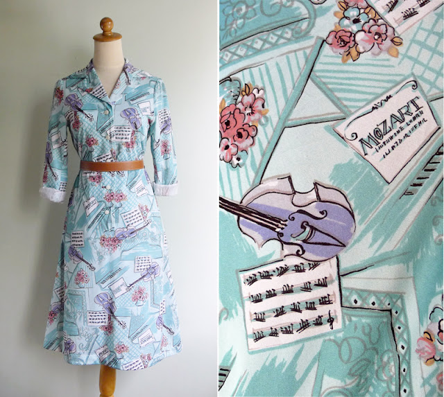 vintage mozart music print turquoise dress
