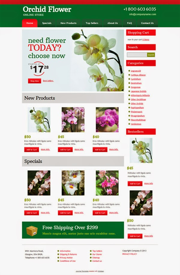 Orchid Flower - Free Joomla! Template