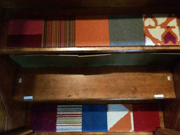 Flor carpet samples used to cover wooden steps