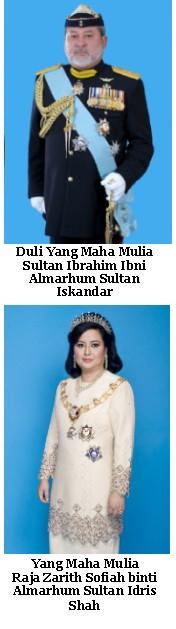 Sultan & Yang Di-Pertuan Bagi Negeri & Jajahan Takluk Johor Darul Ta'zim