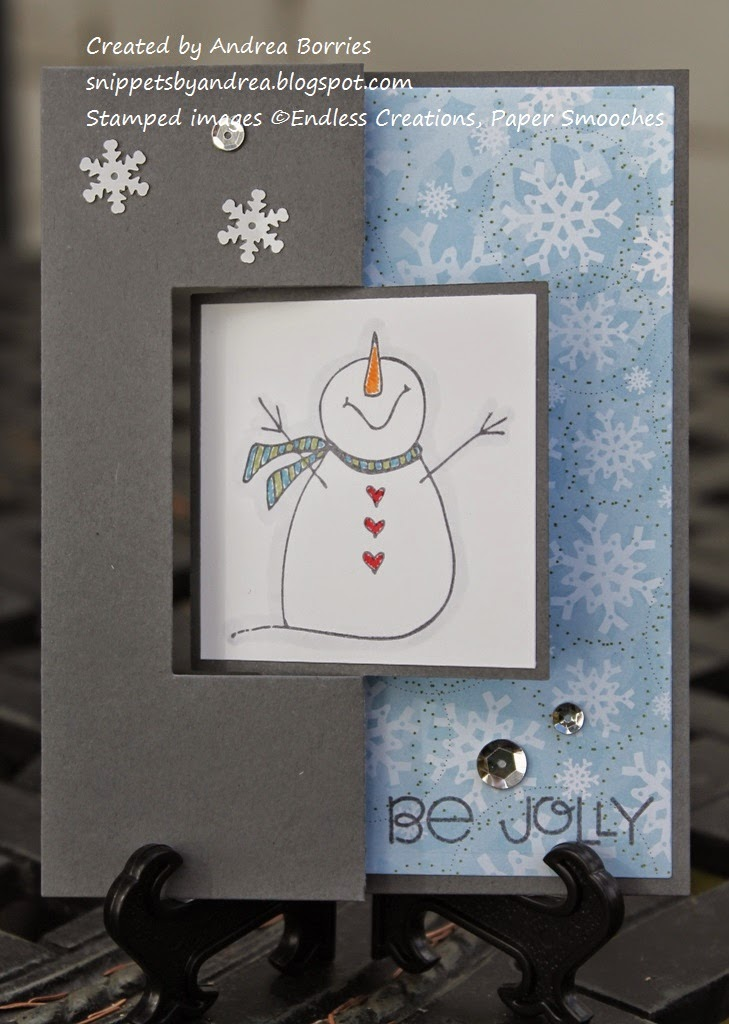 Winter-themed greeting card featuring snowflake paper and a snowman image. Made with Square Flip-Its dies from Sizzix.
