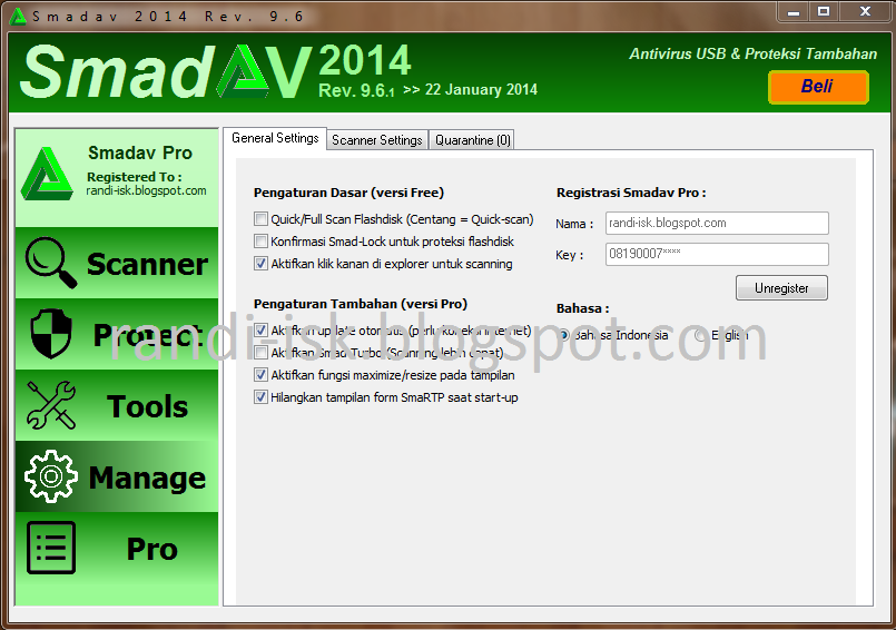 Download SmadAV 2014 Rev 9.6.1 Pro Terbaru Full Serial Number