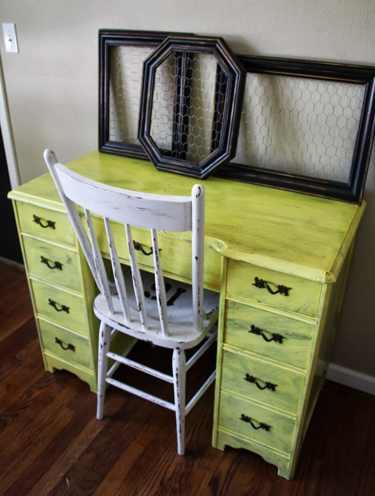 Messy Yellow Painted Desk