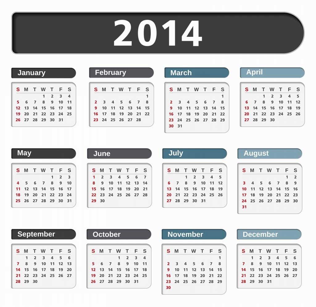 Printed Calendar 2014: Free Desktop Calendar 2014 for ...