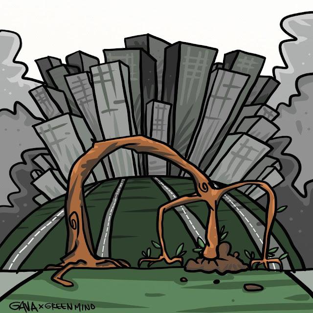 Gavavenezia gava venezia satira vignette ridere piangere pensare disegno illustrazione caricatura albero struzzo grattacieli testa sottoterra