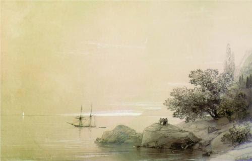 Ivan Aivazovsky Sea Against a Rocky Shore