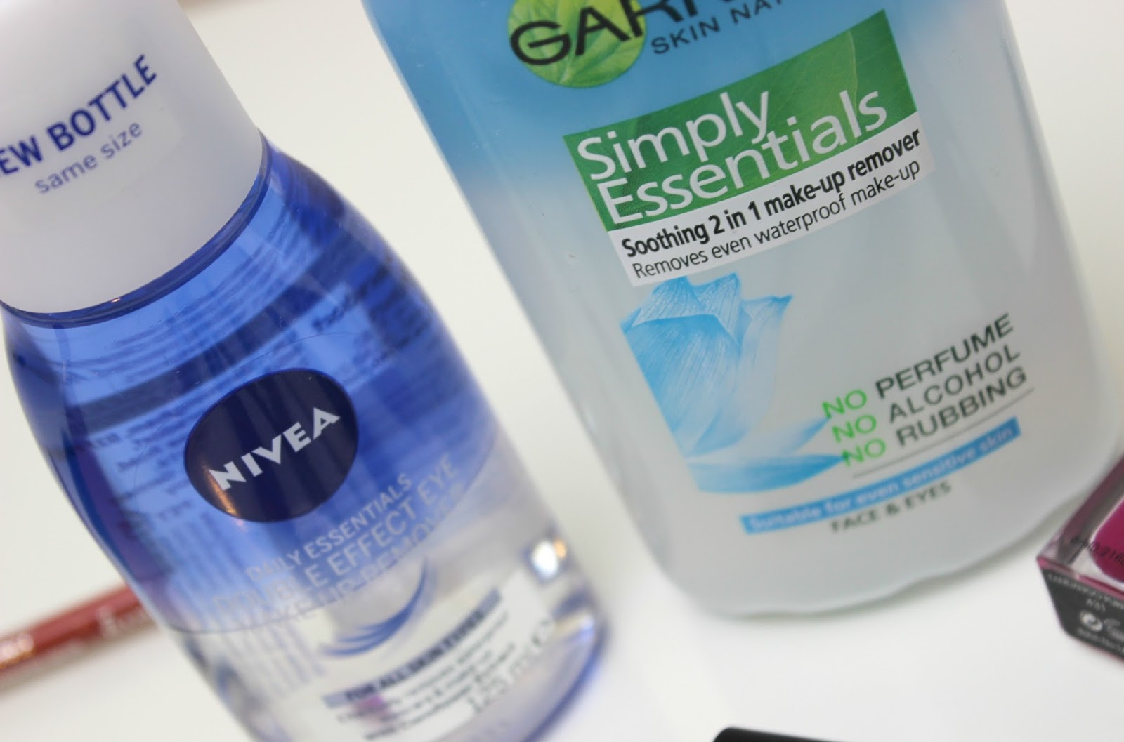 A picture of Nivea Daily Essentials Double Effect Eye Make-Up Remover and Garnier Simply Essentials Soothing 2 in 1 Make-Up Remover