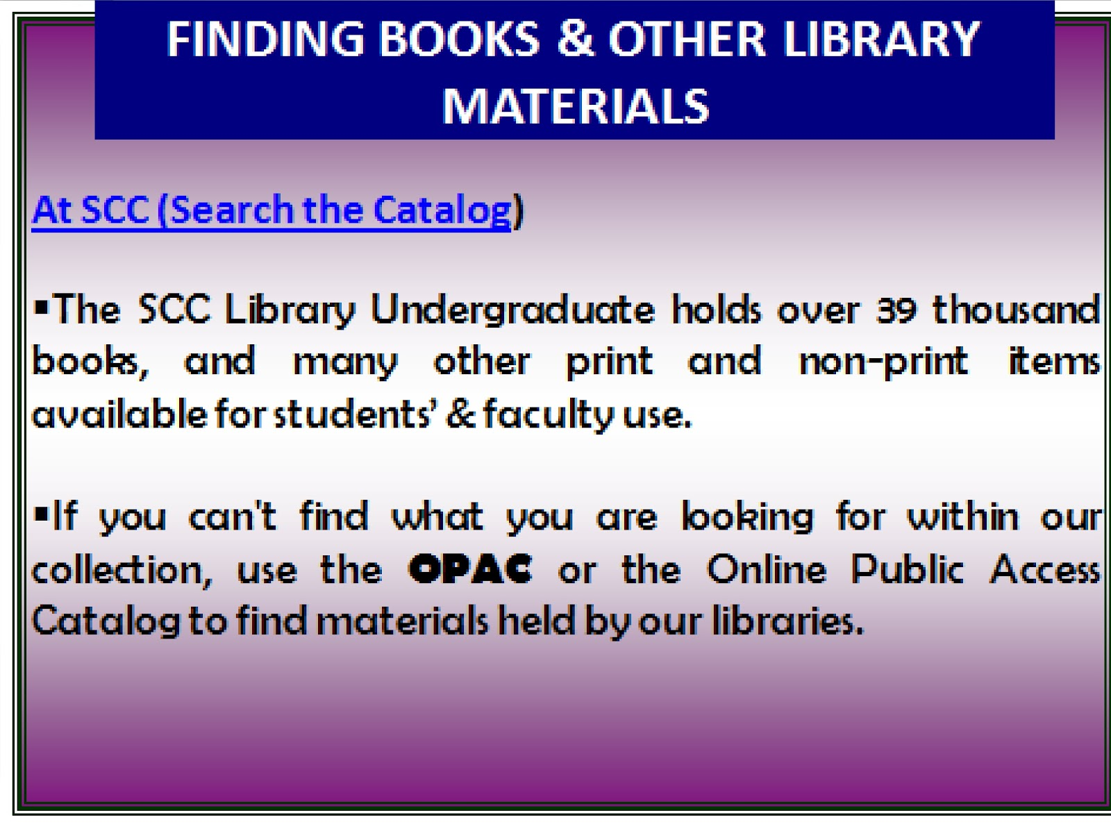Finding Library Materials