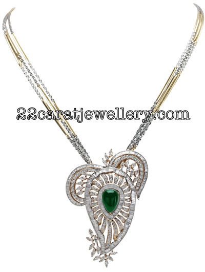 Diamond pendants gallery by tbz jewellery jewellery designs designer diamond pendant sets studded with emeralds attached with south sea pearls by tbz jewellery audiocablefo