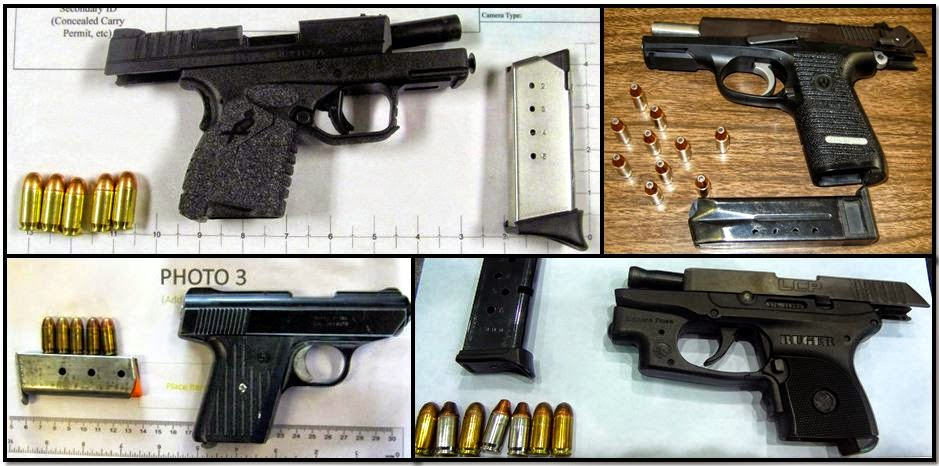 Clockwise from top left, firearms discovered at:MDW, OAJ, TPA, and PHF