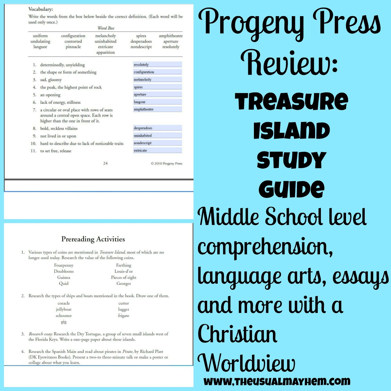 progeny press treasure island review the usual hem progeny press treasure island review
