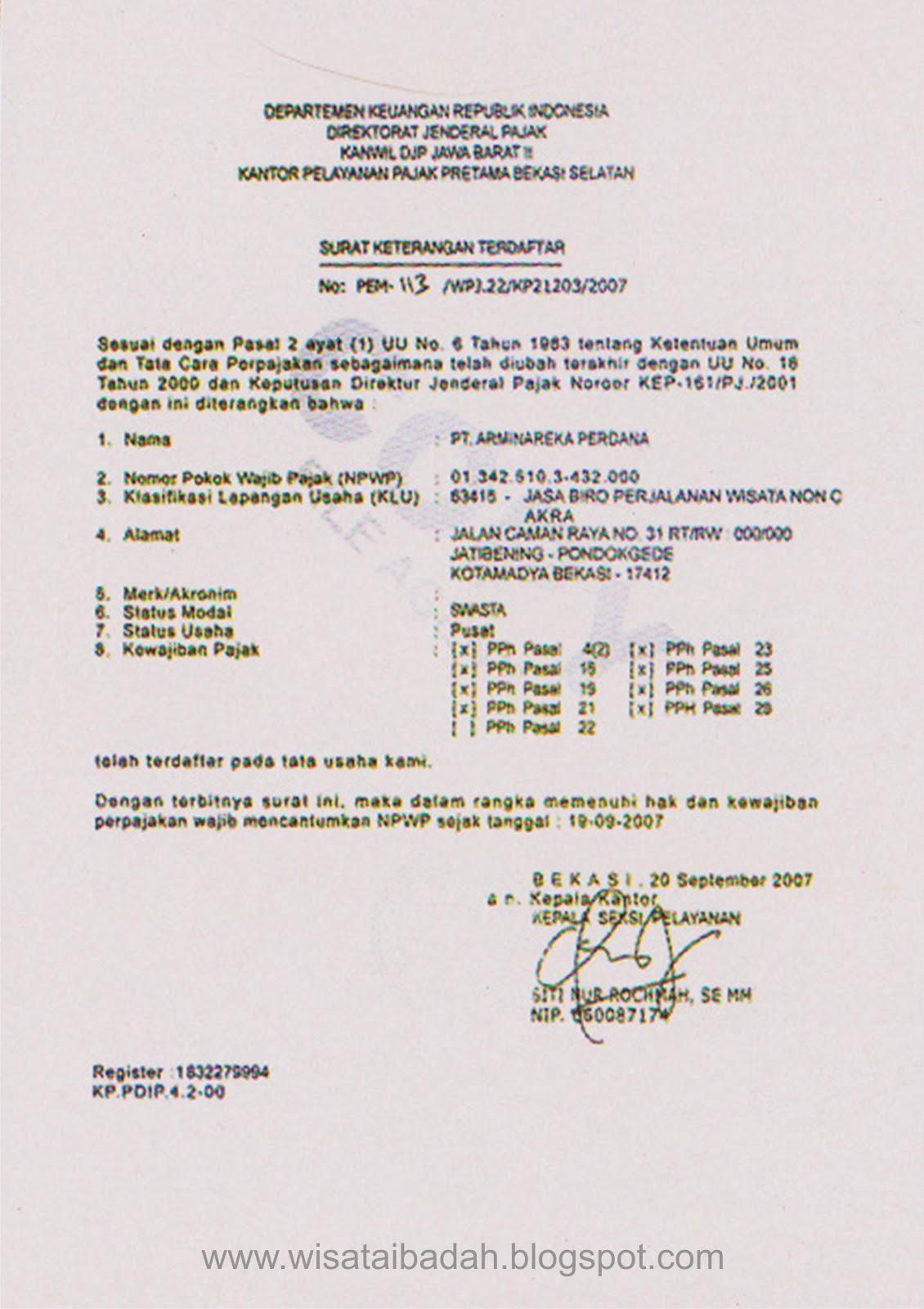 Surat keterangan terdaftar sebagai wajib pajak