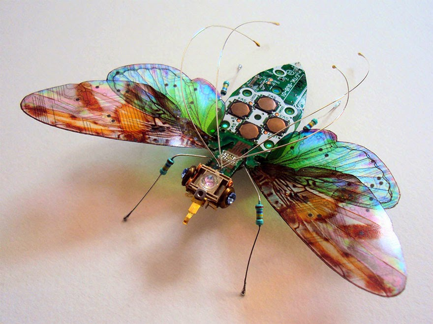 Insects Made From Old Computer Circuit Boards And Electronics