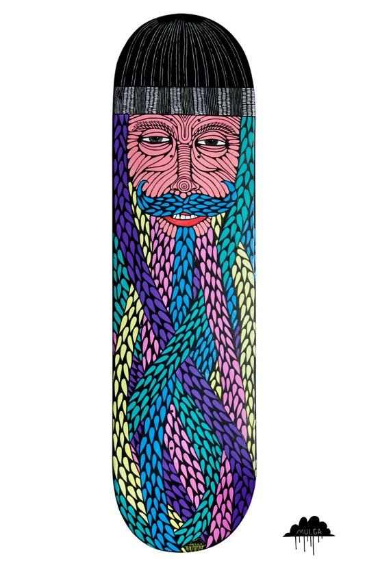 Mulga the artist skateboard art bright bearded beanie for Best paint for skateboard decks