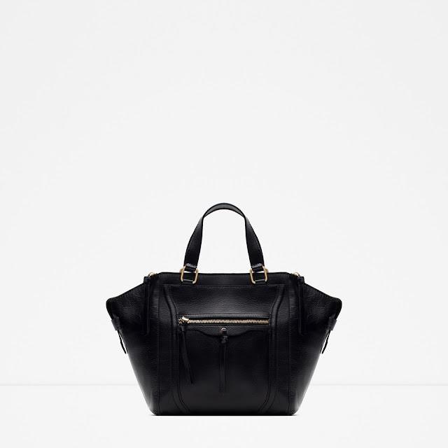 zara black wing bag, zara black leather bag, black bag zips,