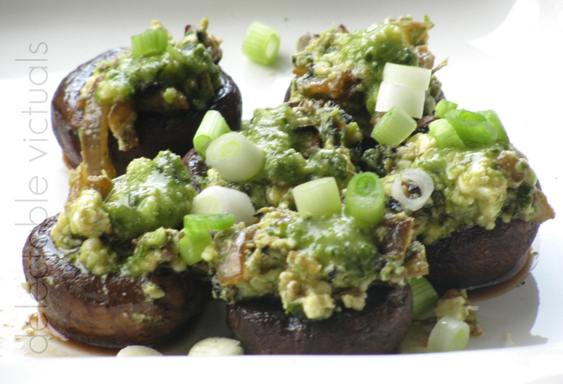 ... Victuals: Baked Mushrooms with Walnut-Spinach-Cilantro Pesto