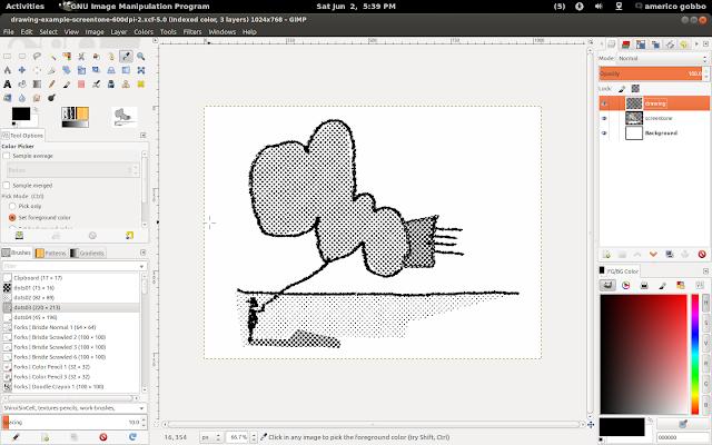 As camadas da imagem: desenho, retícula e fundo.