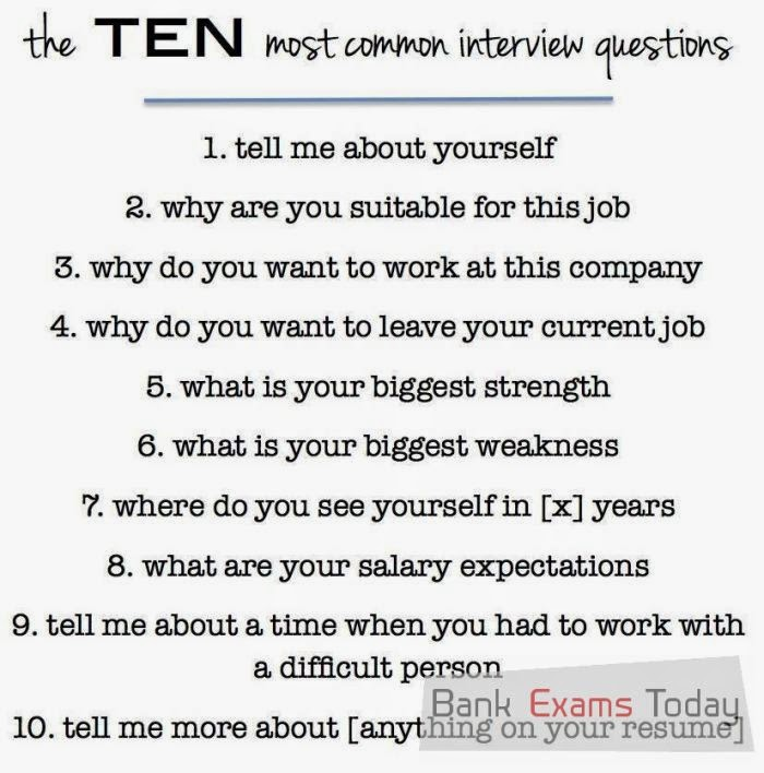 10 most common bank interview questions