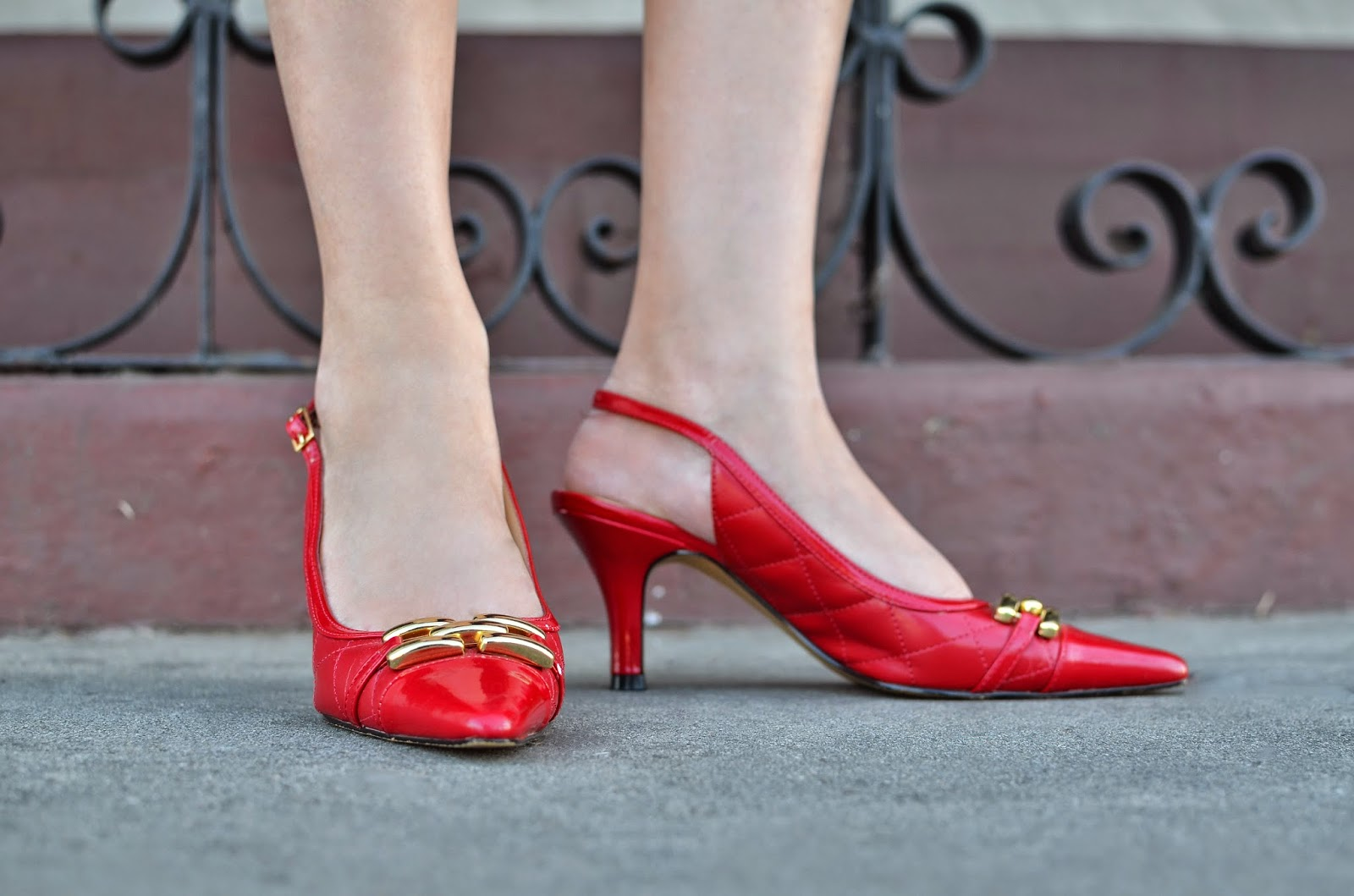 Karen Scott Red and Gold Heels