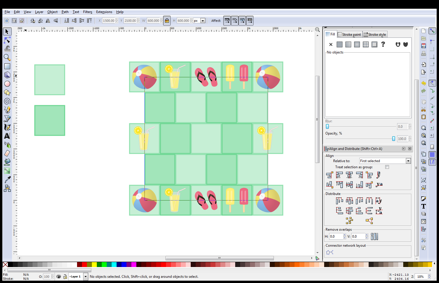how to create repeat pattern in inkscape