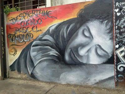 Graffiti Gustavo Cerati despiertame cuando pase el temblor