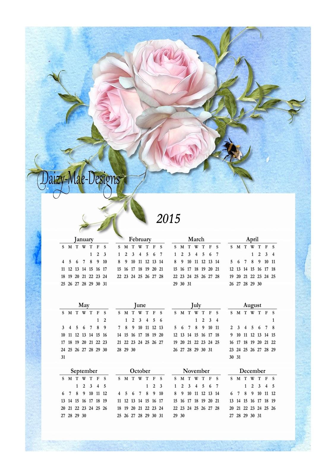 calendar, roses