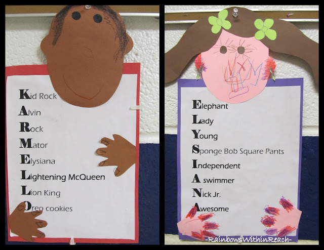 photo of: Kindergarten Names in Acrostic