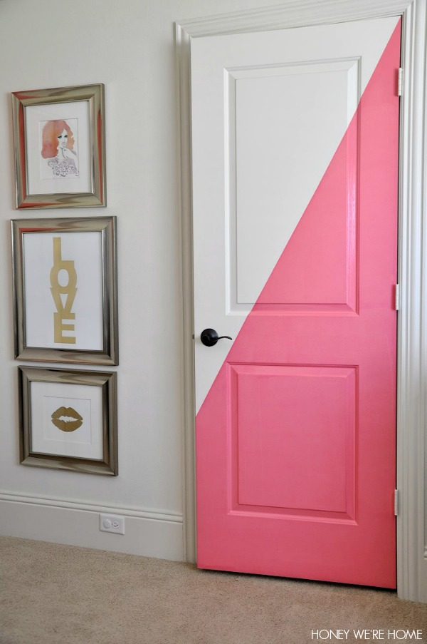 Honey we 39 re home diagonal painted office doors for Painted interior door designs