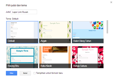 Memberi Judul dan Tema Form Google