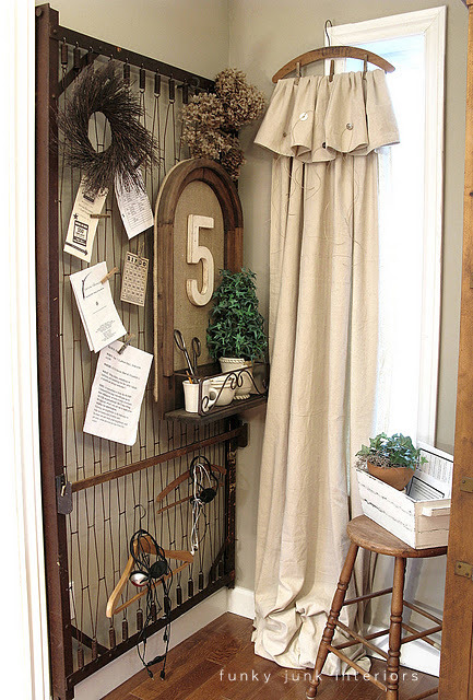 Vintage hanger drop cloth curtains via Funky Junk Interiors
