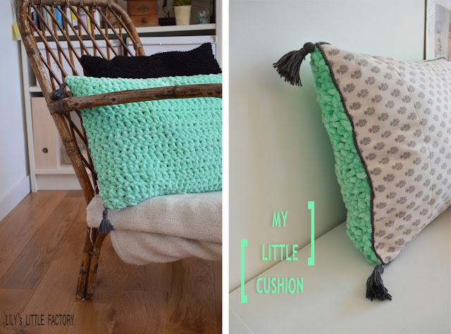 i love cushion mon coussin laine tissu et crochet lily 39 s little factory blog diy bretagne. Black Bedroom Furniture Sets. Home Design Ideas