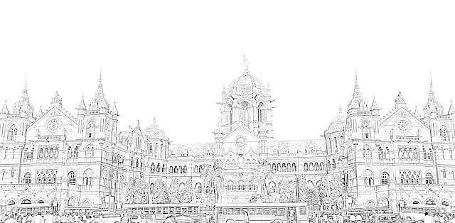 vt station in mumbai sketch