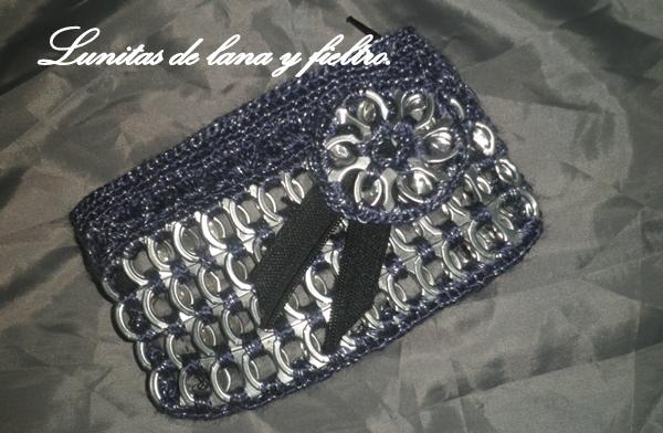 Lunitas de Lana y Fieltro: Monedero tejido a ganchillo con anillas ...