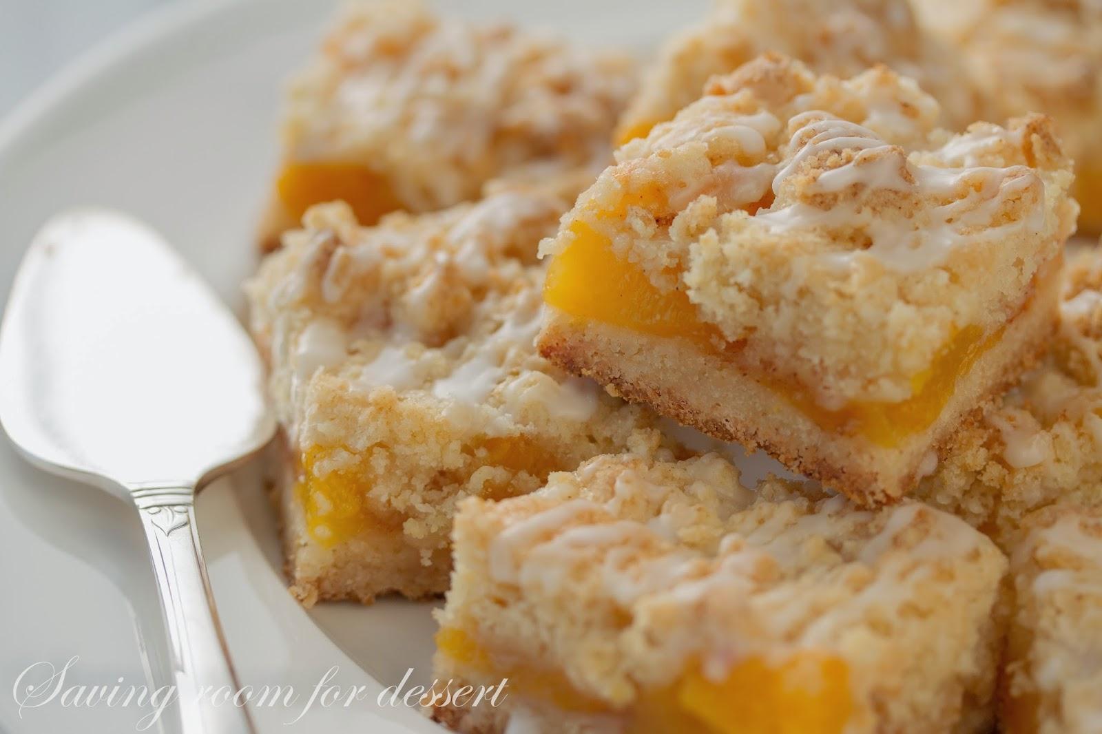 Fresh Peach Crumb Bars - Saving Room for Dessert