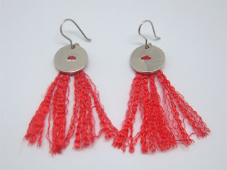 silk, sterling silver, orange, tassel, earring