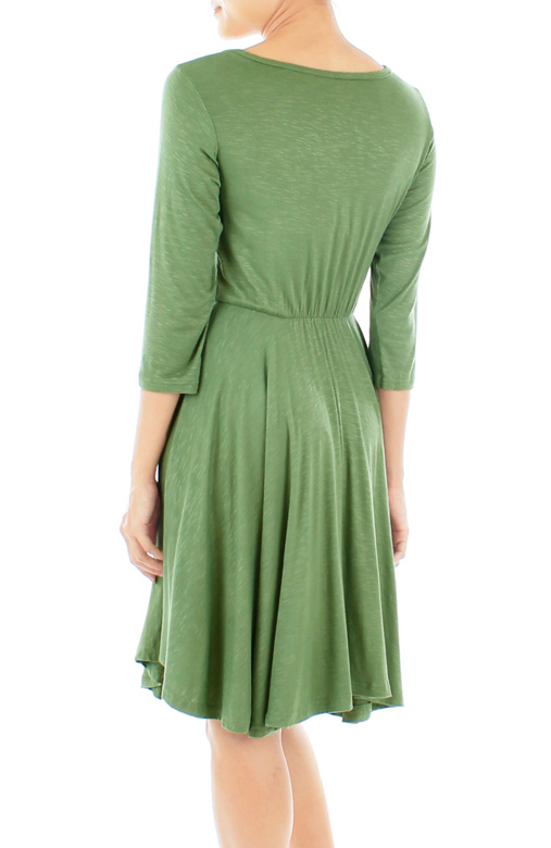 Dip Back Dress with ¾ Sleeves – Verde Green