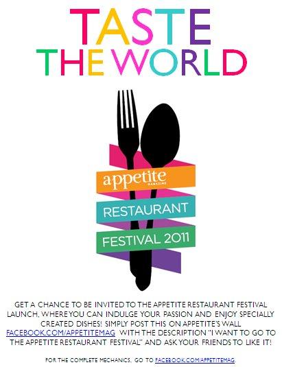 gastronomy by joy appetite magazine 39 s taste the world promo. Black Bedroom Furniture Sets. Home Design Ideas
