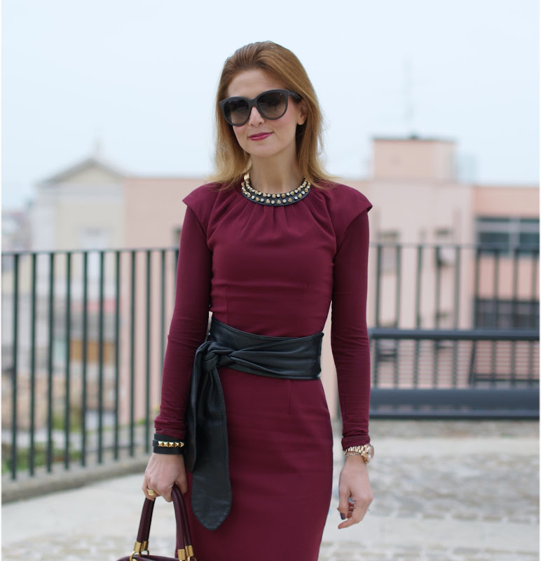burgundy dress, oxblood dress, Marc by Marc Jacobs tote