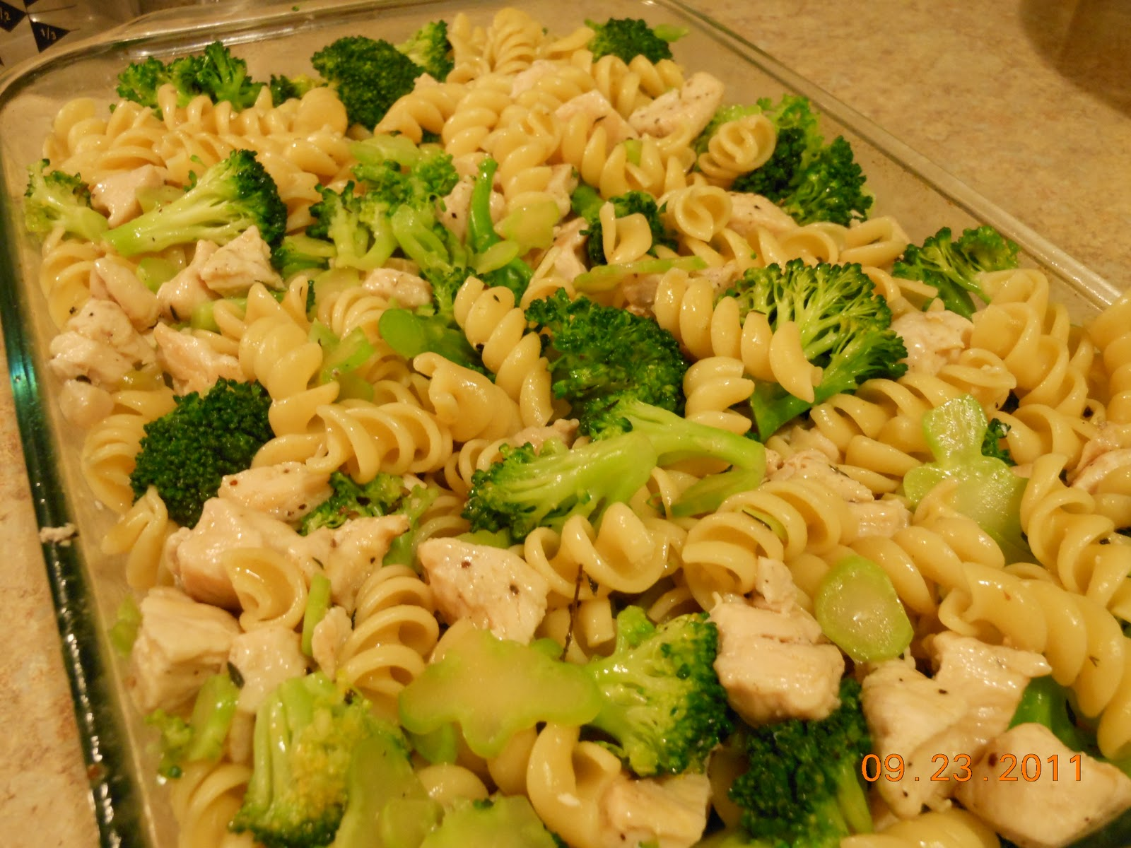Combine all pasta, broccoli and chicken in a casserole dish and ...