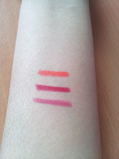 GOSH velvet touch lipliners antique rose, cardinal red & flirty orange swatch