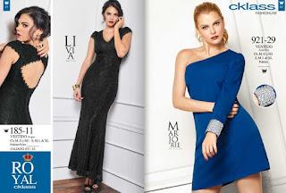 cklass vestidos negro y azul
